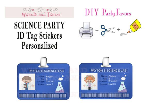 Science Tags: Science Party10 ID Tag StickersPersonalized By