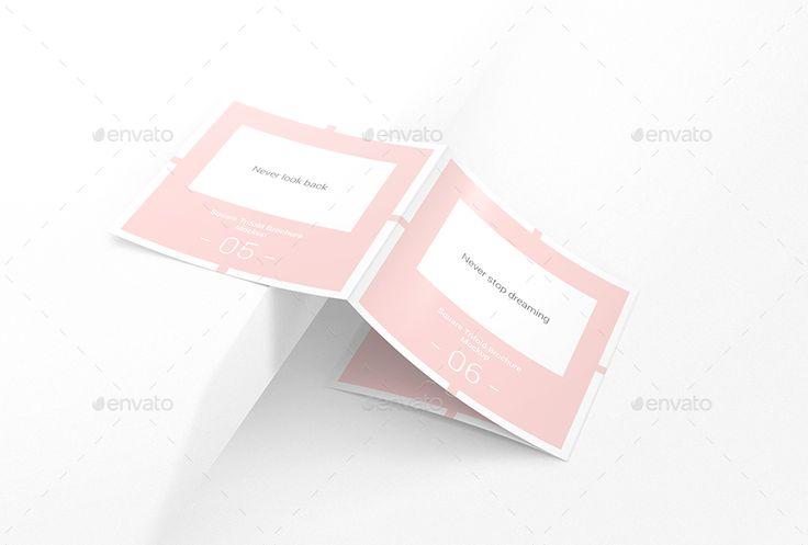 Square Trifold Brochure Mockups   #brochure, #flyer, #flyer mockup, #fold, #fold...