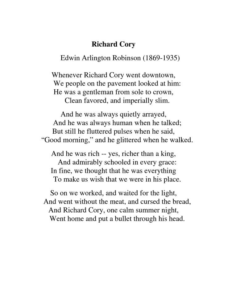 richard cory by edwin arlington robinson Richard cory study guide contains a biography of edwin arlington robinson, literature essays, quiz questions, major themes, characters, and a full summary and analysis about richard cory poem text.