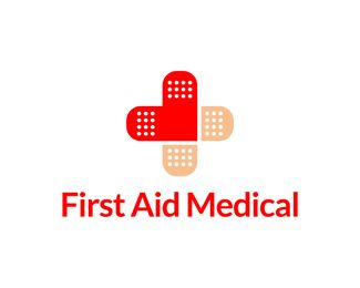 first aid medical Logo design - Stylized medical cross - bandage and heart.<br /><br />Name and colors can be changed for free. Price $450.00