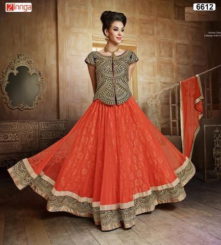 MAHOTSAV GROUP-Women's Beautiful Orange Color Net  SemiStitched Lehenga-6612