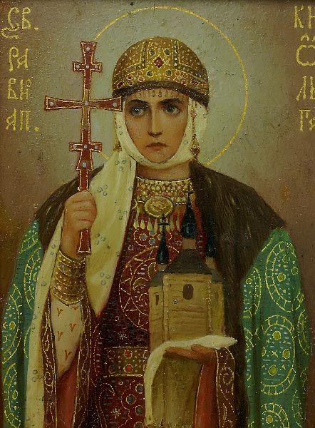 Russian Icon of Saint Olga | Royal Romanov Family Provenance | Grand Duchess Olga Alexandrovna 1916
