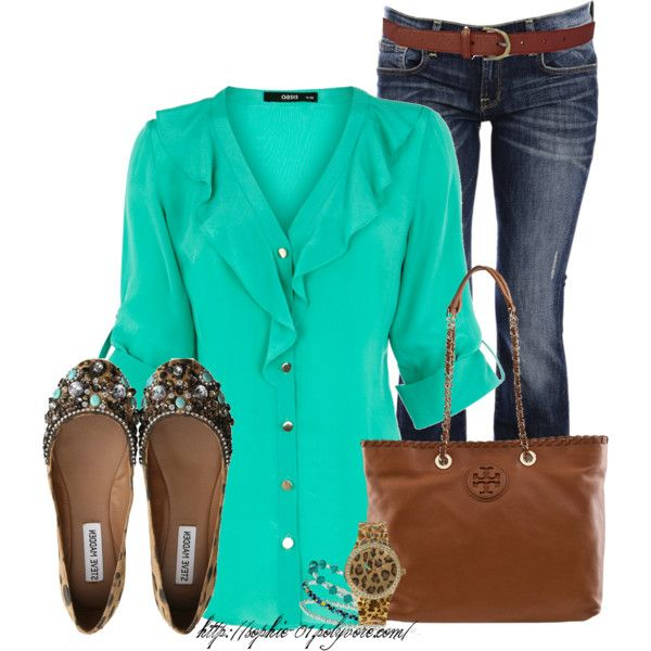 Long Sleeve Silk Ruffle Blouse, CARLOS MIELE DARK BLUE Flared Jeans, TORY BURCH HANDBAGS Marion Tote Royal Tan Leather Bag, Guess Animal Print Watch, Turquoise Bead Stretch Bracelet Set, POL Knut Inch Belt and Steve Madden Embellished Flat Shoes