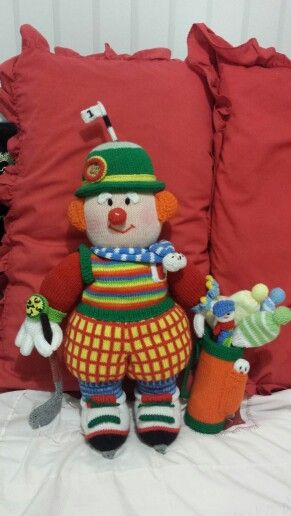 My Hand Knit - Golfing Clown #JeanGreenhowePattern
