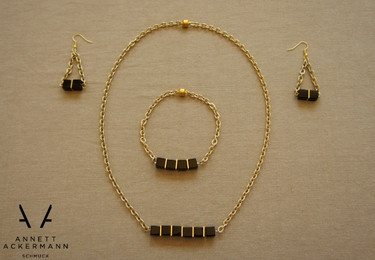 GOLD & SQUARES // 3er-SET (Kette,Armband)