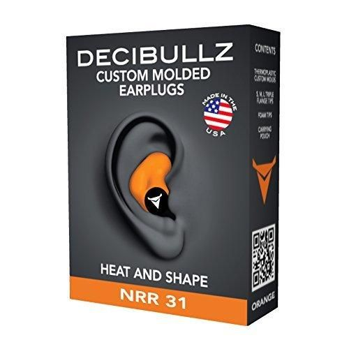 Decibullz- Custom Molded Earplugs 31dB Highest NRR Comfortable Hearing Protection for Shooting Travel Sleeping Swimming Work and Concerts (Orange)