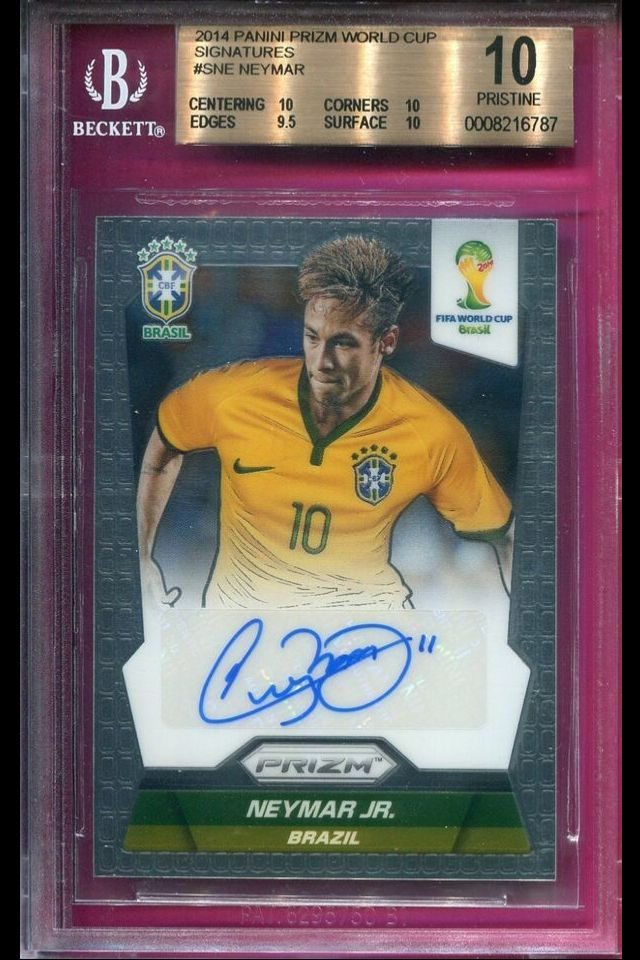 2014 PRIZM WORLD CUP AUTOGRAPH NEYMAR JR BGS 10/10 PRISTINE AUTO CARD #S-NE SELLS AT AUCTION FOR $820.00
