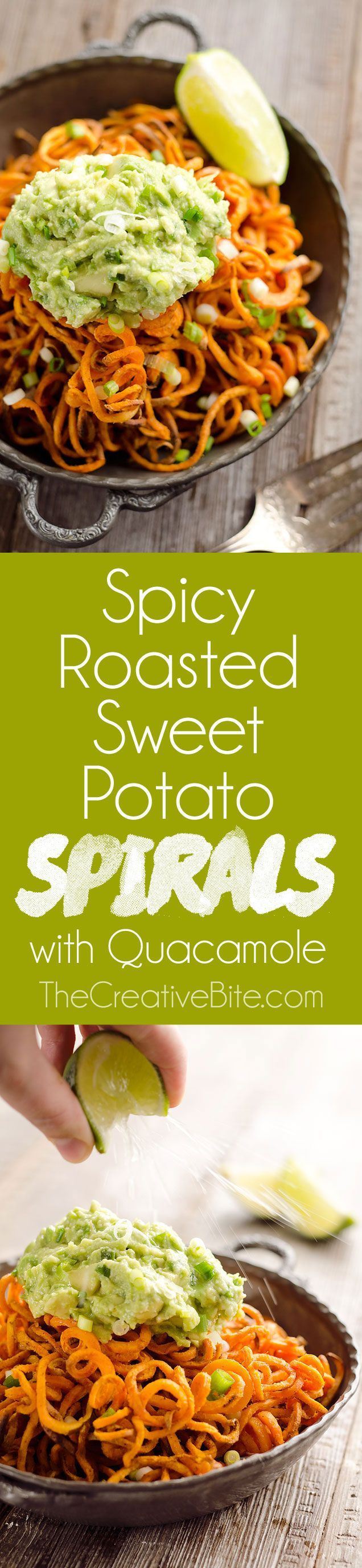 Spicy Roasted Sweet Potato Spirals with Guacamole   This veggie noodle dish looks simple and delicious.