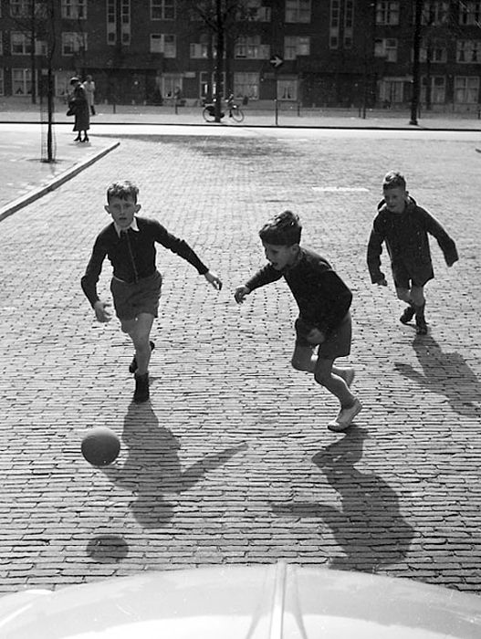 """"""" Boys playing football """" Amsterdam, about 1953-1958. photo: Kees Scherer"""
