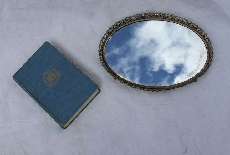 Oval mirror tray, vanity make up tray, bedroom boudoir tray, bathroom tray, brass filigree, shabby cottage chic, French farmhouse by Itzvintagedarling on Etsy