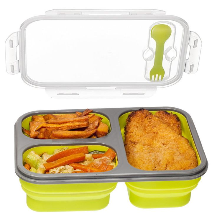 Compartment Food Container with Lid, Lunch Box, Leak Proof, Microwave Safe, Silicone Collapsible Lunch Box