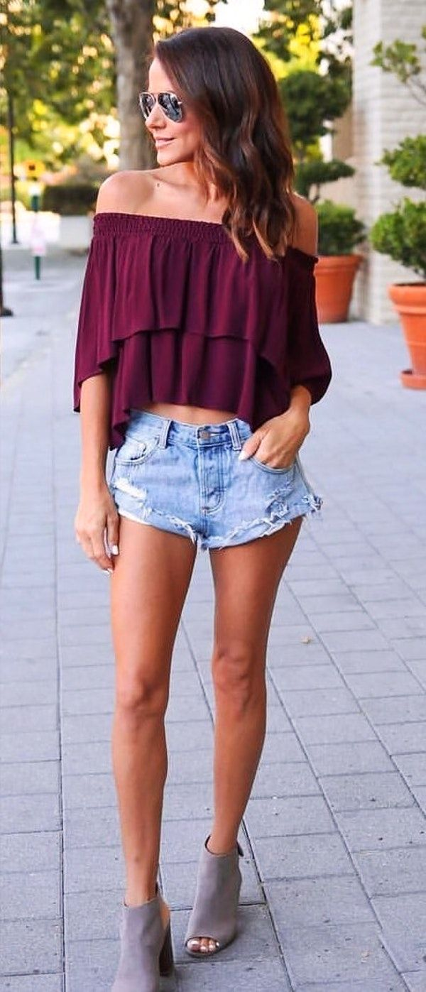 #summer #outfits Purple Off The Shoulder Top + Ripped Denim Short
