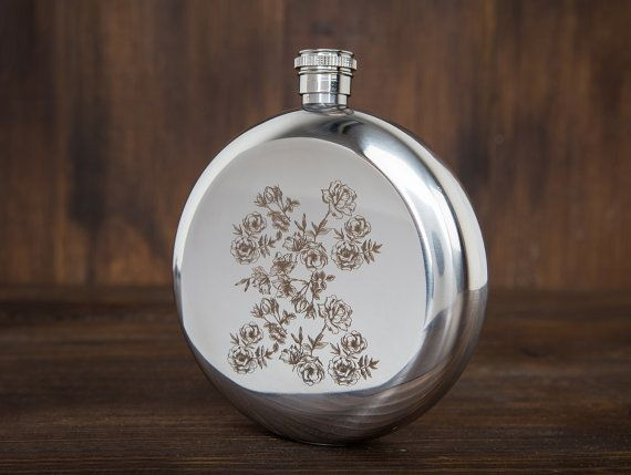 Unique gift for women - cute floral pattern engraved round hip flask - flowers - unusual gifts for her - round hip flask - gift for sister