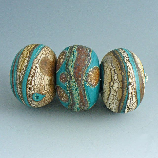 mar 16 turq trio tied by wandering spirit designs, via Flickr - Glass