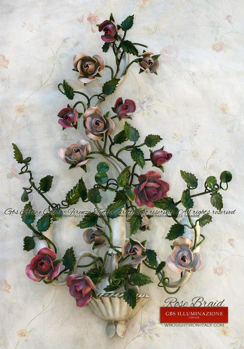 Wrought iron 3-light Rose Braid Sconce   GBS Tole Floral wall lights, hand-made in Florence since 1925. Made in Tuscany