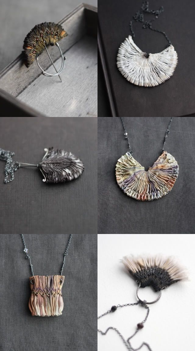 Beautiful and unique jewellery made from dyed silk