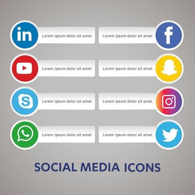 Social Media Icon Snapchat Facebook Instagram Twitter Whatsapp Skype Set Network Share Business App Li Social Media Icons Social Media Media Icon
