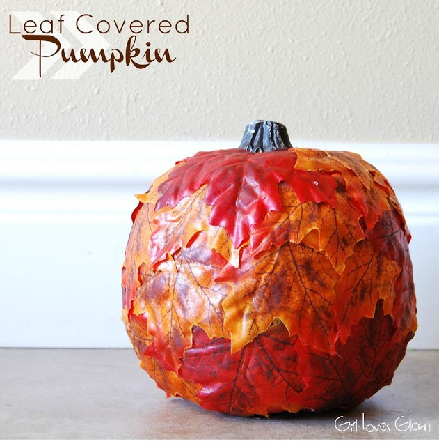 Leaf Covered Pumpkin Tutorial