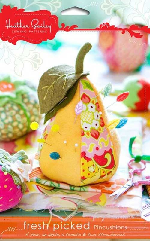 Add some sweetness to your studio or sewing room with a virtual fruit salad of pincushions. Choose from five fruity designs including a pear, an apple, a t
