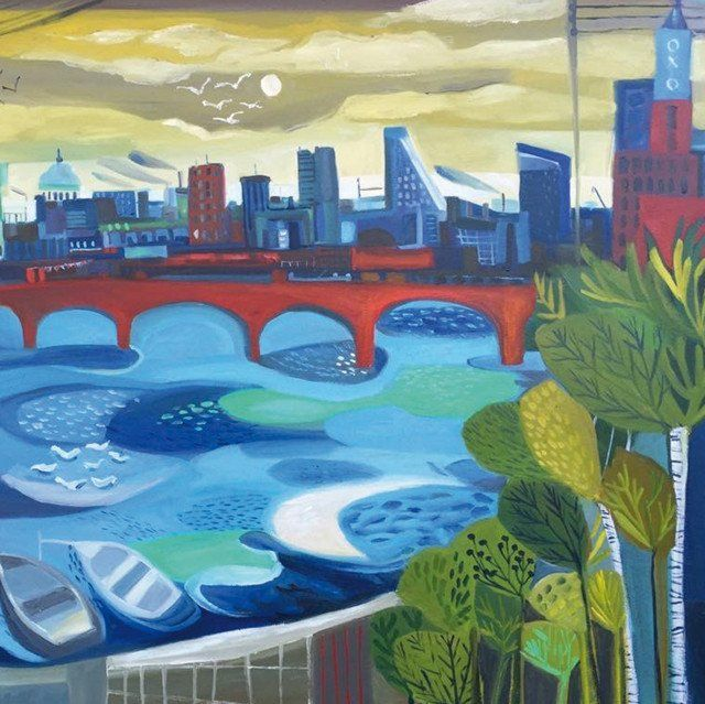 'The River That Shaped The City' by Painter Natalie Rymer. Blank Art Cards By Green Pebble. www.greenpebble.co.uk