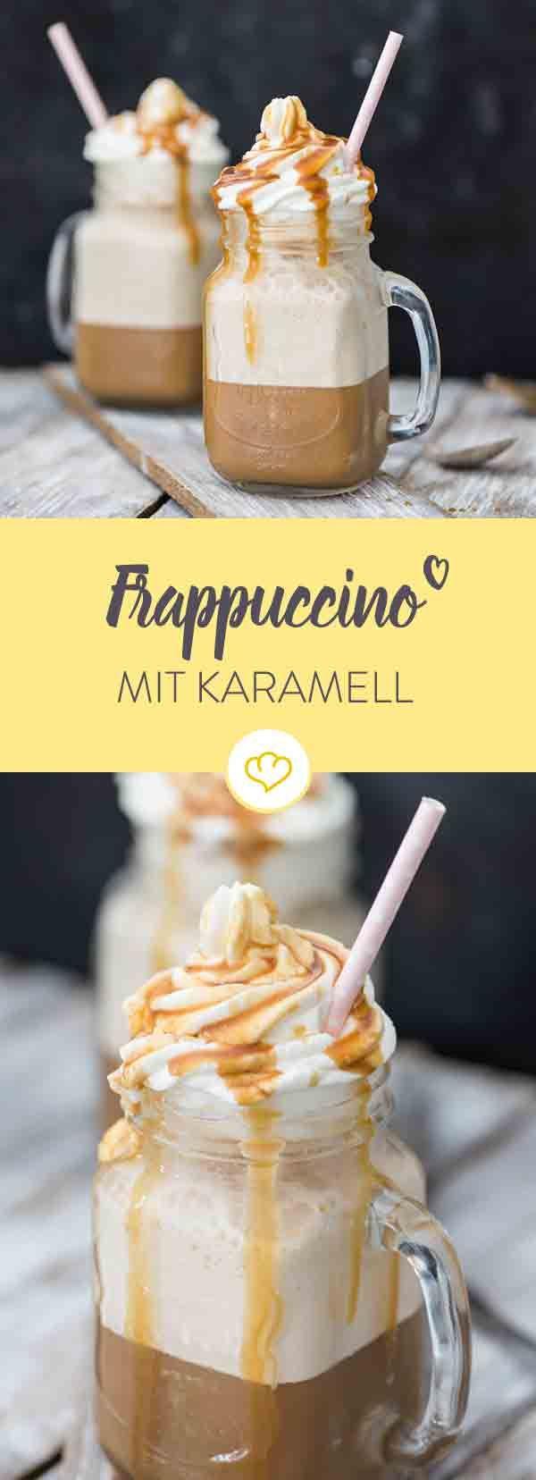 Frappuccino - die beste Kreation seit es Eiskaffee gibt. Am besten schmeckt der frostige Drink mit einem Schuss Karamellsauce und Sahnehaube obendrauf.