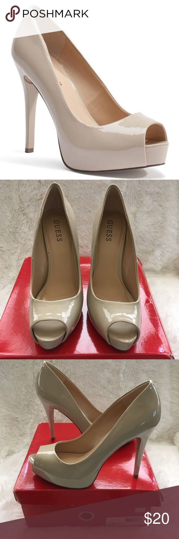 Guess Adison peep-toe patent pumps Cream-colored, peep-toe, faux-patent-leather pumps from Guess.  4-inch heels. These were tried on and worn around the house for a bit, but never actually worn outside. They're in great condition.  Comes with its original box. Guess Shoes Heels