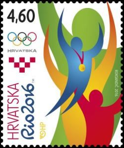 Rio 2016 Olympic Stamps Croatia  Croatia post issued a beautiful Rio 2016 Olympic stamp with the motif of Sportsman celebrating a victory.