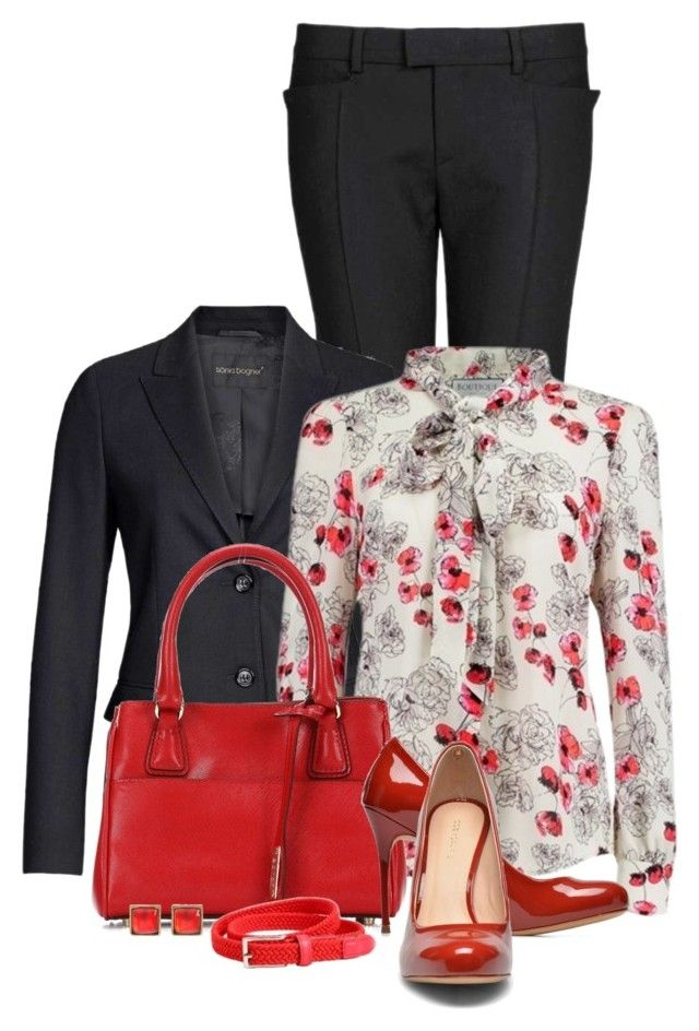 """""""Office outfit: Red - Black - Floral"""" by downtownblues ❤ liked on Polyvore featuring Caipora Jewellery"""