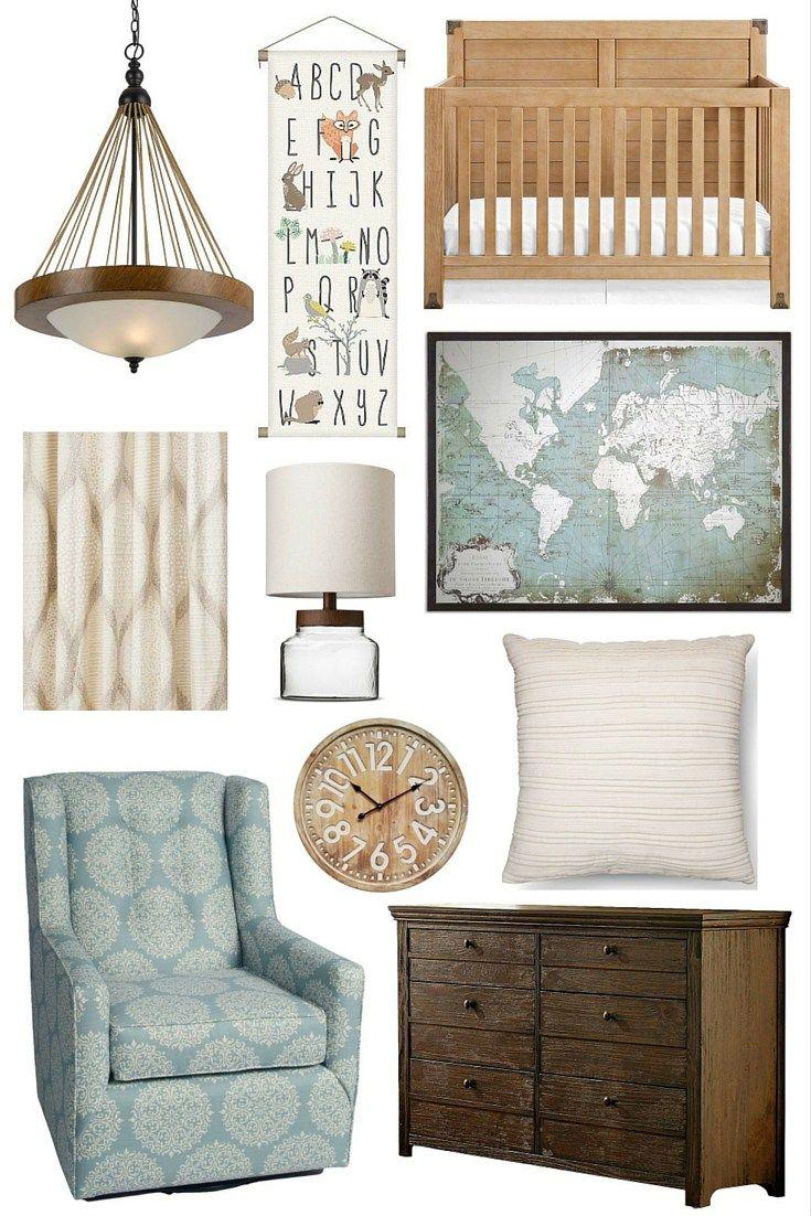 Boy nursery curtains - Nursery Inspiration Pastel Blue Natural Wood