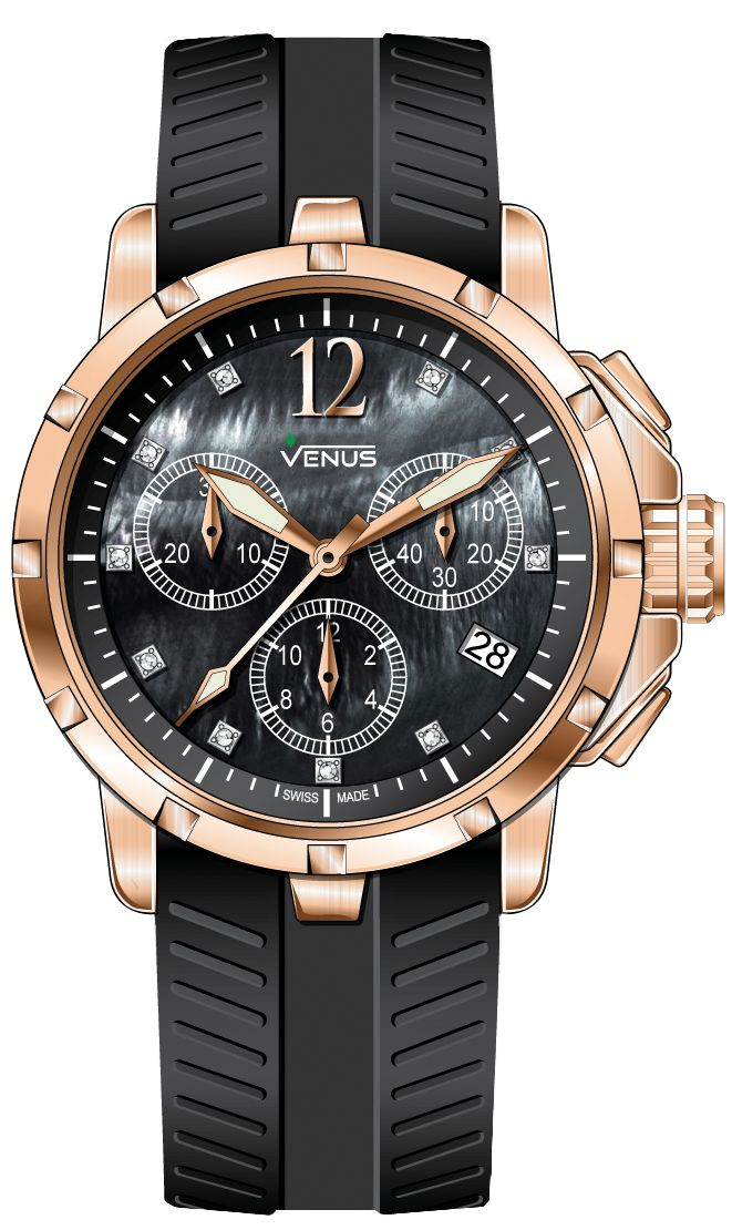 Chronograph - White mother of pearl with rose-gold Arabic numerals with 10 full cut diamonds, Genesis Collection for Ladies