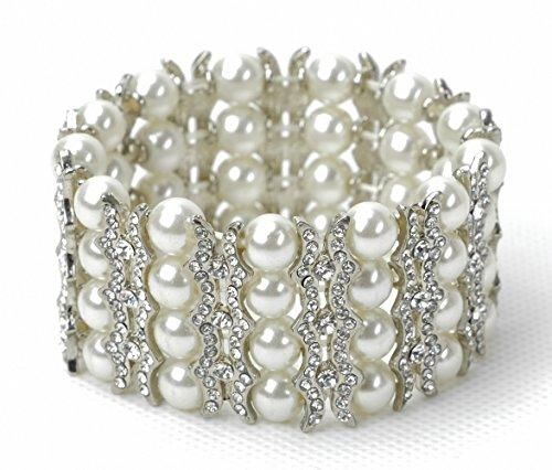 Art Deco Bracelet Gatsby 4 Rows Fashion Faux Pearl Elastic Bangle 20s Flapper Accessories Jewelry