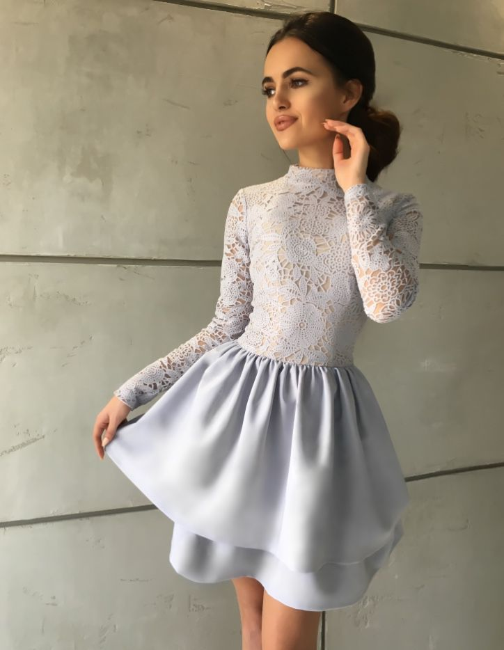 Błękitno - szara sukienka Florence Rozkloszowana sukienka z dlugim rekawem.  249 zł -> illuminate.pl
