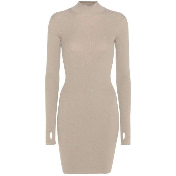Yeezy Mini Dress (SEASON 3) (€830) ❤ liked on Polyvore featuring dresses, beige, short dresses, adidas originals, beige dress, pink dress and short pink dress