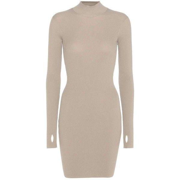 Yeezy Mini Dress (SEASON 3) (€830) ❤ liked on Polyvore featuring dresses, beige, short dresses, adidas originals, beige dress, pink dress and short pink dress