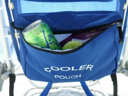 This beach chair has an insulated cooler in the back - enough to hold a drink, some fruit and a sandwich.