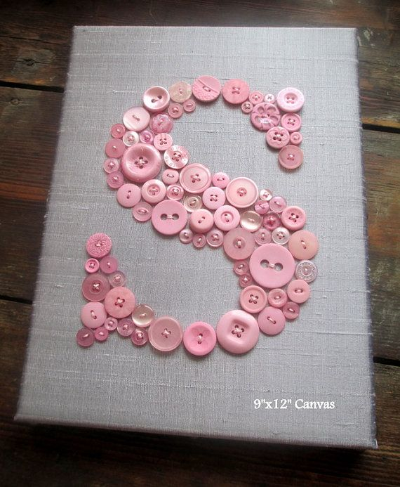 Personalized Kids Wall Art Button Letter S by letterperfectdesigns