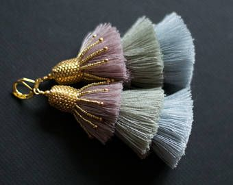 Pastel Tassel Earrings, Glamour Tassel Earrings, Fringe Tassel Earrings, Boho Chic Earrings, Festive Tassel Earrings, Stacked Tassels