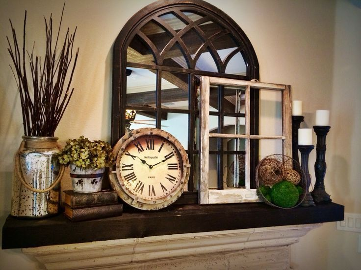 decorate chelf above cabinets | Rustic Mantel Decorating Ideas - WoodWorking Projects & Plans
