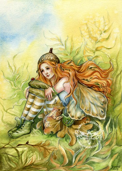 Fairy art print, ACEO, 2,5x3,5 inch, Oak Fairy, Autumn, Fall, Redhead, Janna…