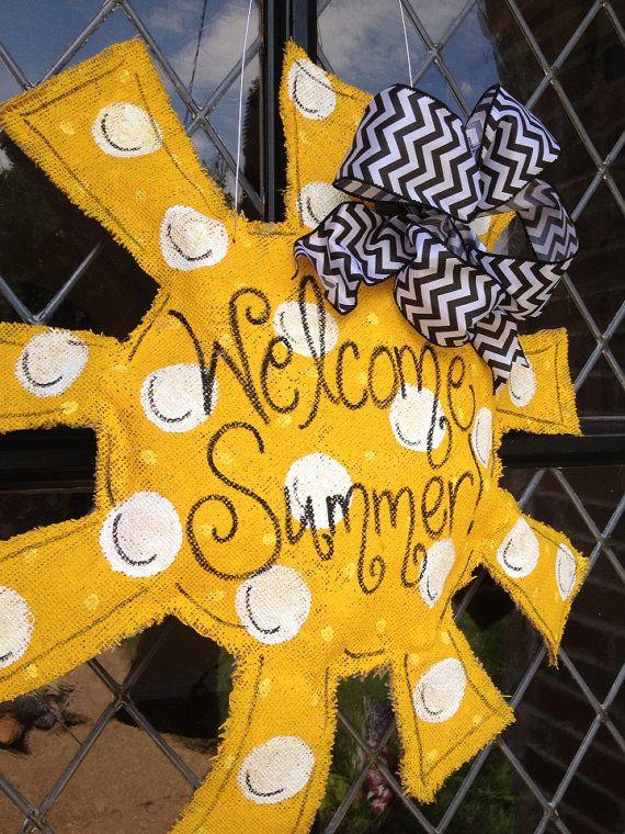 Summer sun burlap door hanger