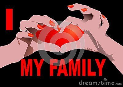 I love my Family isolated on black with Heart shaped hand position.  Vector illustration.