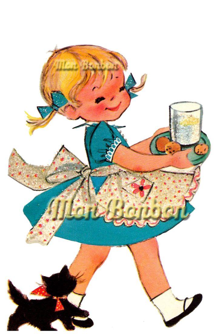 Cute Retro Happy Birthday Little Girl Illustration .PnG  - DIY Printable - Digital Clip Art - INSTANT DOWNLOAD by monbonbon on Etsy https://www.etsy.com/listing/152265421/cute-retro-happy-birthday-little-girl