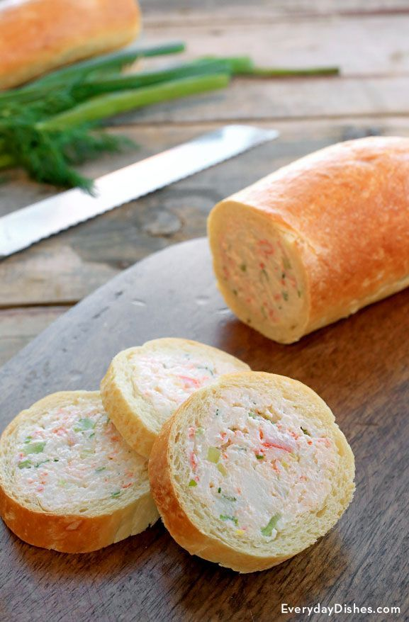 This crab-stuffed baguette recipe is a keeper for sure! Hollow out the interior of the bread and replace it with a crab and cream cheese filling that's out of this world—that you make it ahead of time is just another big plus.