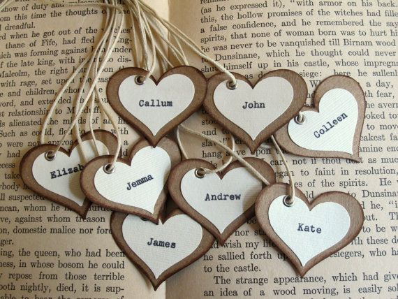 Unique Wedding Favor Tags / Place Cards / Rustic Woodland, Vintage-Inspired, Natural. $2.00, via Etsy.