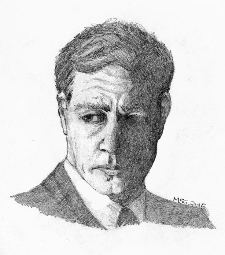Actor Nathan Page from Miss Fisher's Murder Mysteries, ABC Drama. Pencil sketch.