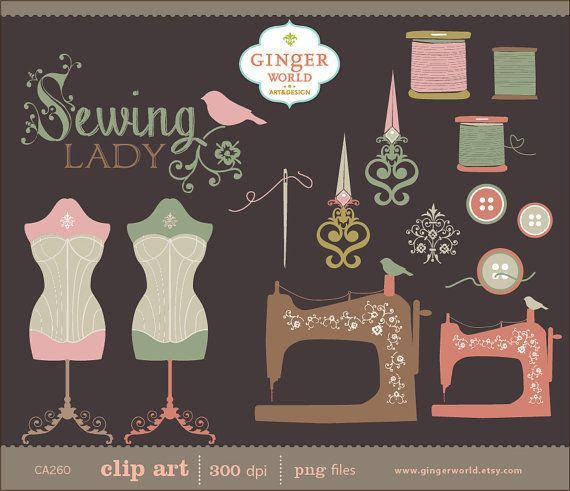 Vintage couture Lady clipart clipart dessinés à la par GingerWorld, $4.95
