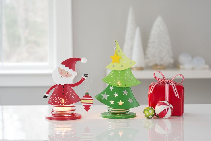 Create your own fun and festive christmas scene with the whimsical Christmas cheer Votive Pair!