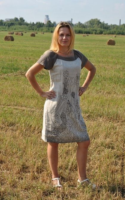 """Платье """"Льняные узоры"""" - женская одежда,изделия из льна,платья,винтажный стиль"""