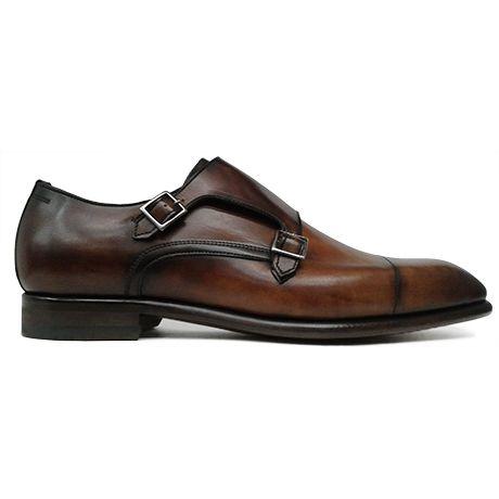 Zapato de doble hebilla en cuero difuminado de Zampiere vista lateral
