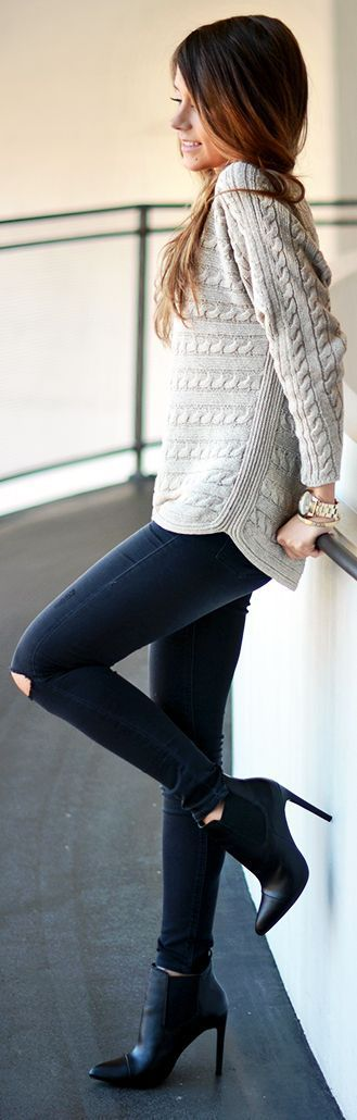 Grey Causal Sweater + Dark Ripped Skinnies & High Heel Boties